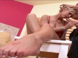 She likes wank cocks with her feet